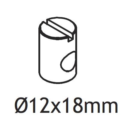 3922-08018 FLEXA Serviceonderdeel los metalen tonnetje met schroefdraad voor in de bedzijde van classic bed om deze vast te zetten aan het hoofd-en voeteinde dmv grote inbusbout.