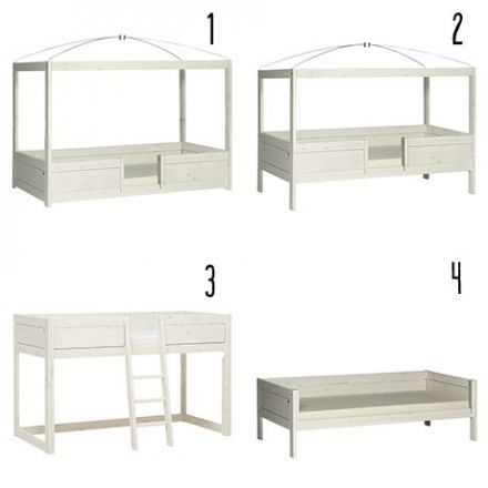 496111-01W LIFETIME 4-in-1 bed. HET BED VOOR EEN LIFETIME. Kleur White Wash. Met luxe lattenbodem.