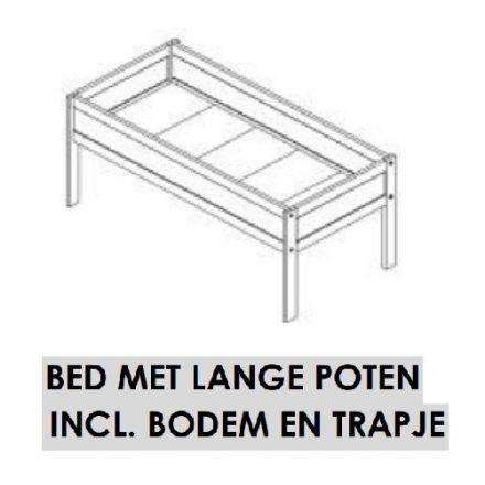 667-10 LIFETIME BED MET LANGE POTEN INCL. BODEM VOOR HANGOUT BED. (voor matrasmaat 90 x 200 cm.) KLEUR: WIT.