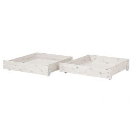 82-20108-2 FLEXA Set van 2 opbergladen voor 1 persoons bed en stapelbed. KLEUR: WHITE WASH.