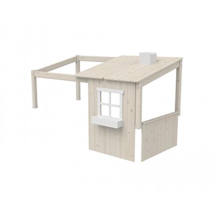 82-70173-90 FLEXA Classis Huis opbouw(met 1 raam) voor op een eenpersoons bed of Halfhoogslaper. Kleur: White wash en wit.