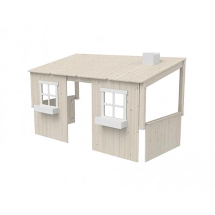 82-70174-90 FLEXA Classic Huis opbouw(met 2 ramen) voor op een eenpersoons bed of Halfhoogslaper. Kleur: White wash en wit.