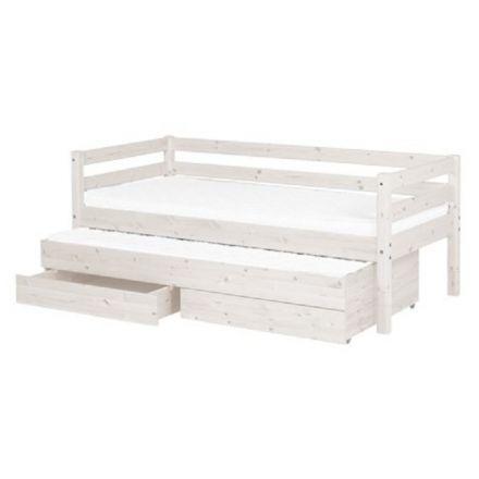 90-10157-2-01 FLEXA Classic bed met uitschuifbed inclusief lattenbodems, 2 opberglades en 1/1 uitvalbeveiliging. (matrasmaat 90 x 200 cm.) KLEUR: WHITE WASH.