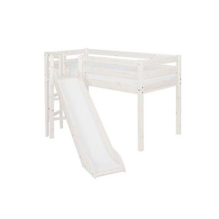 90-10187-2-01 FLEXA Classic halfhoogslaper incl. lattenbodem, 1/1 en gedeelde uitvalbeveiling, platform en glijbaan. (matrasmaat 90 x 200 cm.) KLEUR: WHITE WASH.