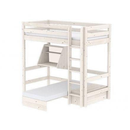 90-10334-2-01 FLEXA Classic Casa hoogslaper met geïntegreerde slaapmodule en click-on bureau. Rechte ladder. Kleur: White washed.