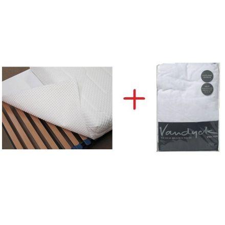 Beschermpakket. Bestaande uit: Molton protect en een matrasdek optinop. Ter bescherming en behoud van uw matras. Bestemd voor een slaapmaat van 90 x 200 cm. IN ONZE WINKEL TE ZIEN.
