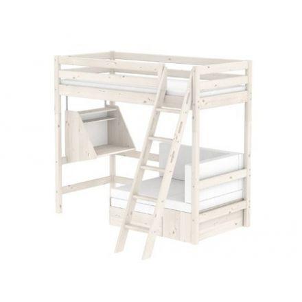 90-10336-2-01 FLEXA Classic Casa hoogslaper met geïntegreerde slaapmodule en click-on bureau. Met SCHUINE ladder. Kleur: White washed.