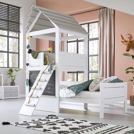 4718-10 LIFETIME PLAY TOWER bed. Kleur: wit en greywash.