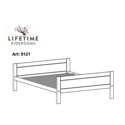 5121-01W LIFETIME basisbed / Tienerbed met luxe lattenbodem. Slaapmaat 120x200 cm.Kleur white wash.
